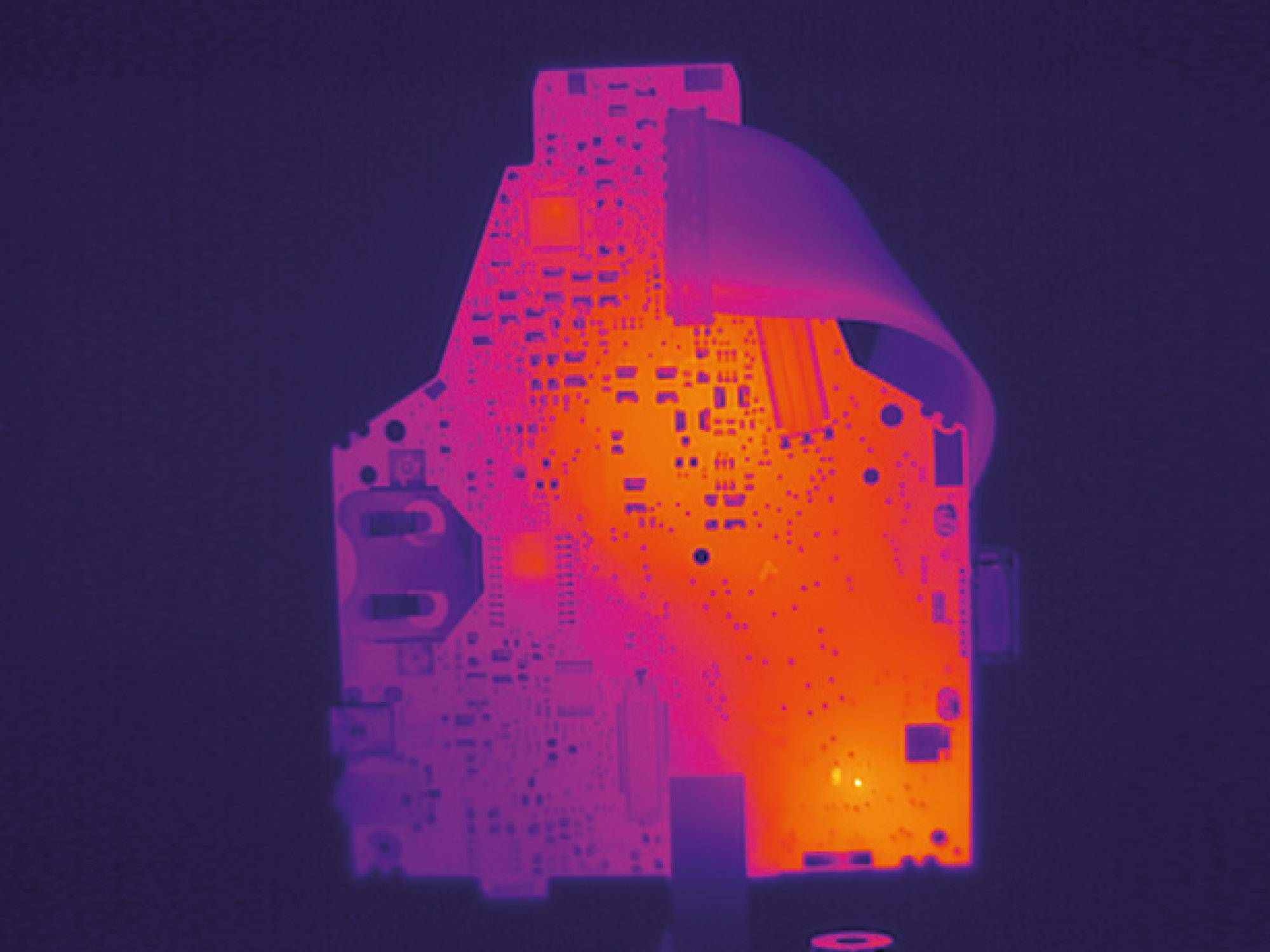 Thermal image of a circuit board