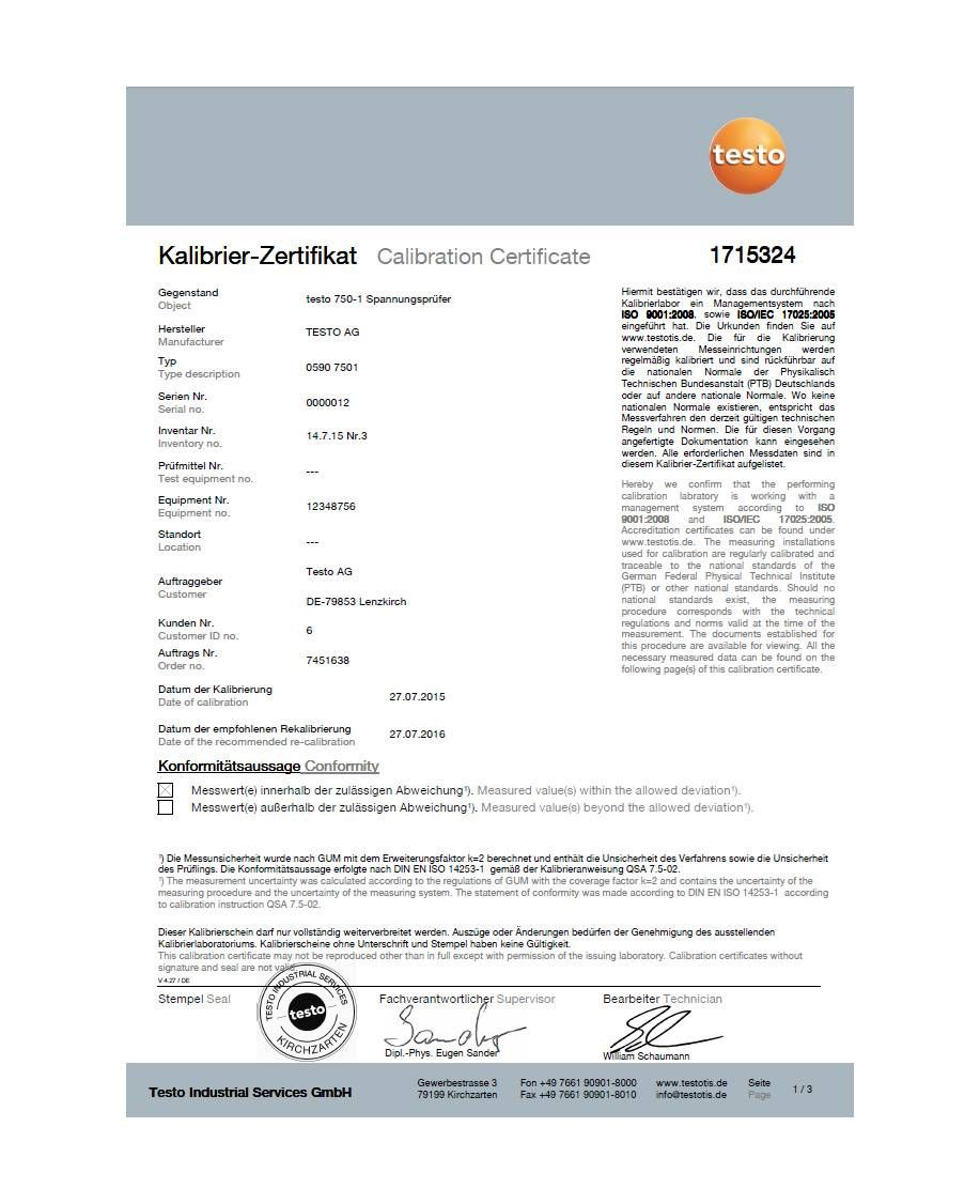 ISO calibration certificate for voltage testers