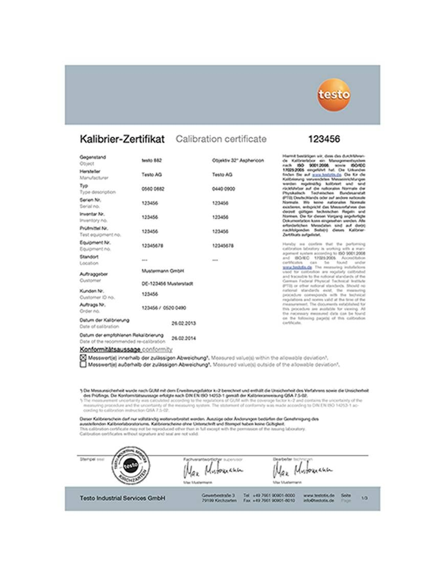 ISO calibration certificate