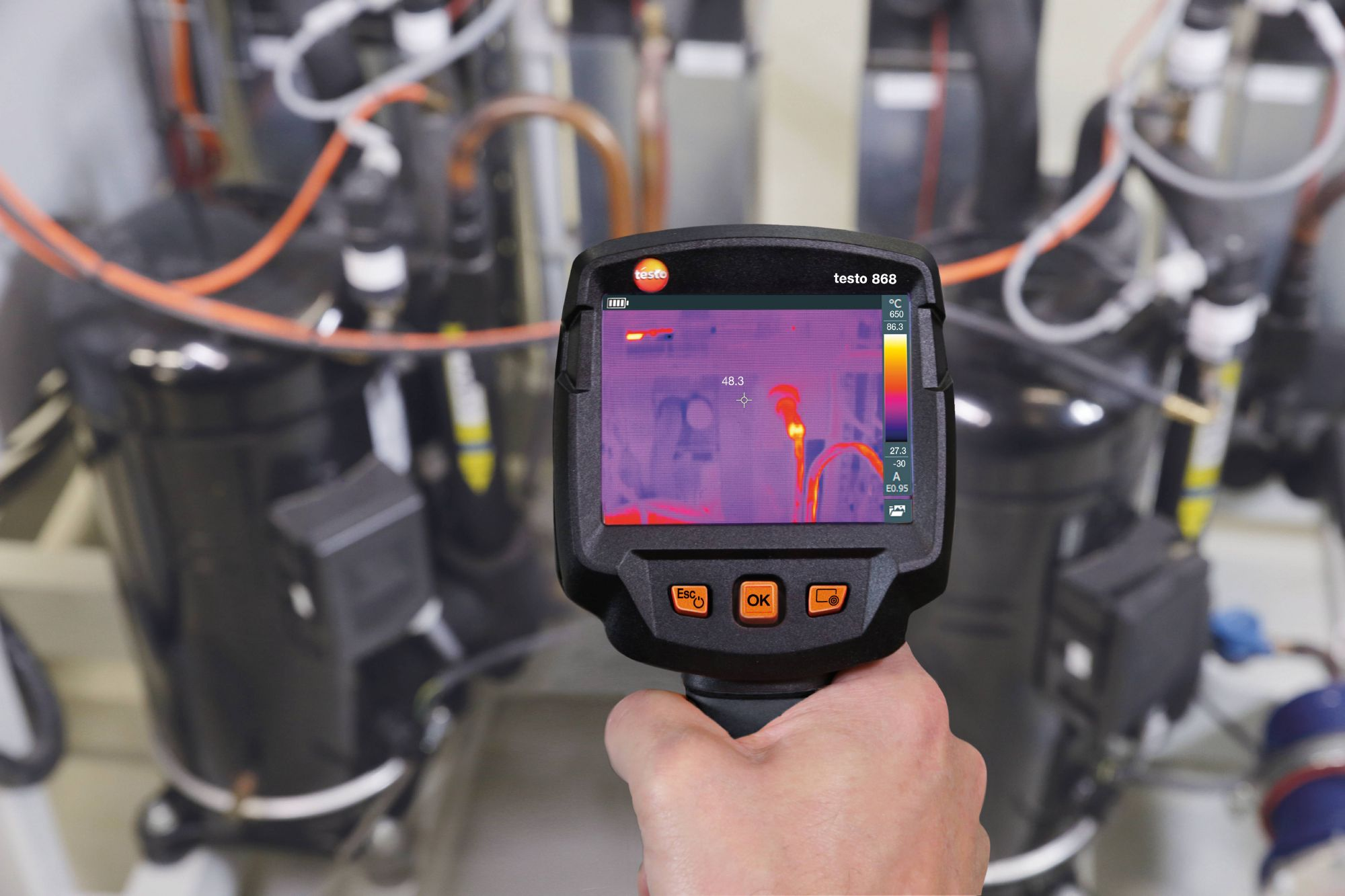 Testo's thermal imaging tools allows Tru-Steam technicians to detect thermal leaks and other boiler issues.