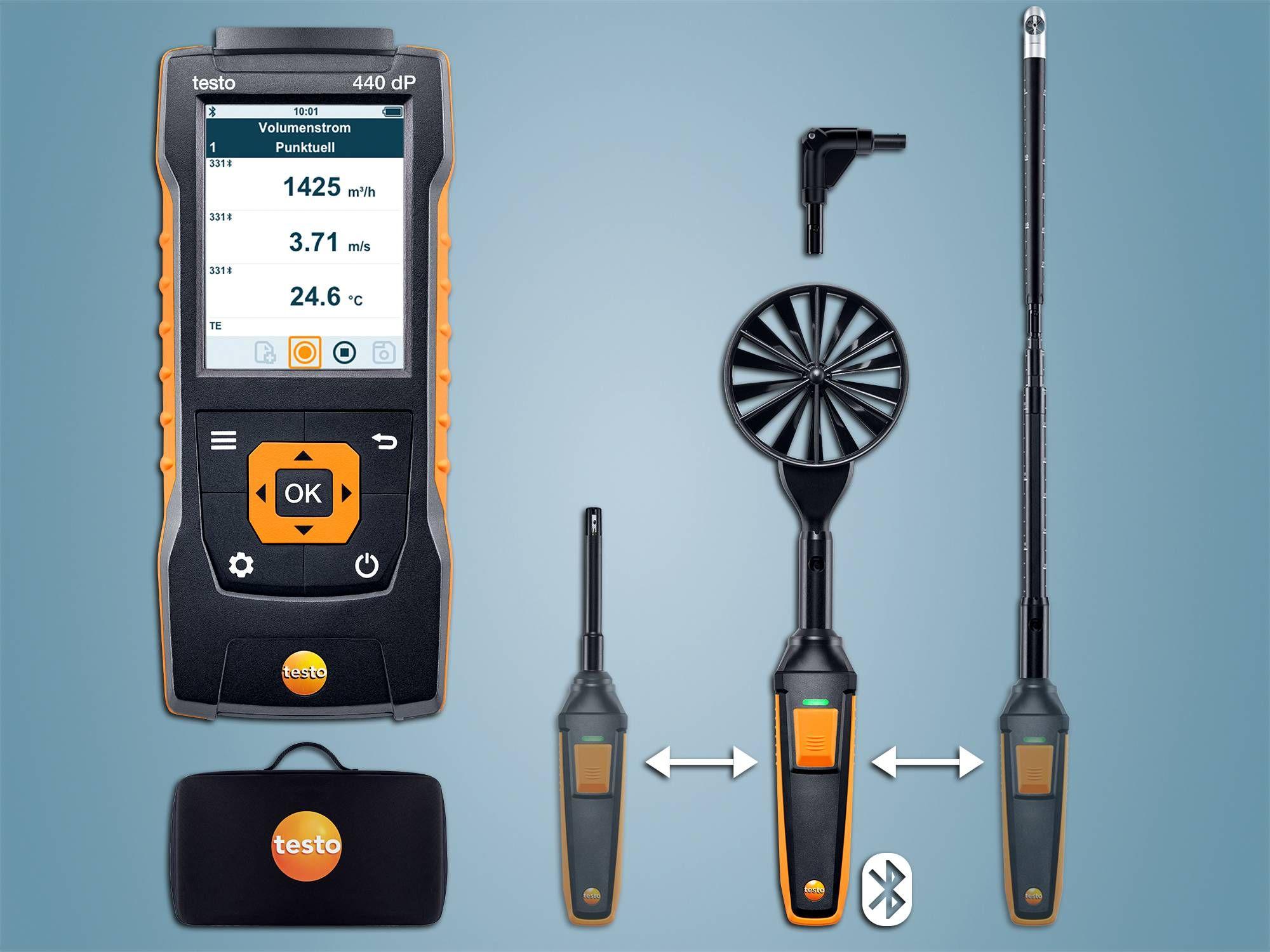 testo 440 delta P Strömungs-KombiSet 2 mit Bluetooth