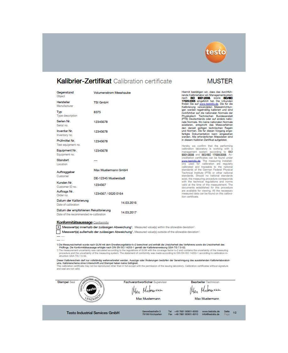 Kalibrier-Zertifikat