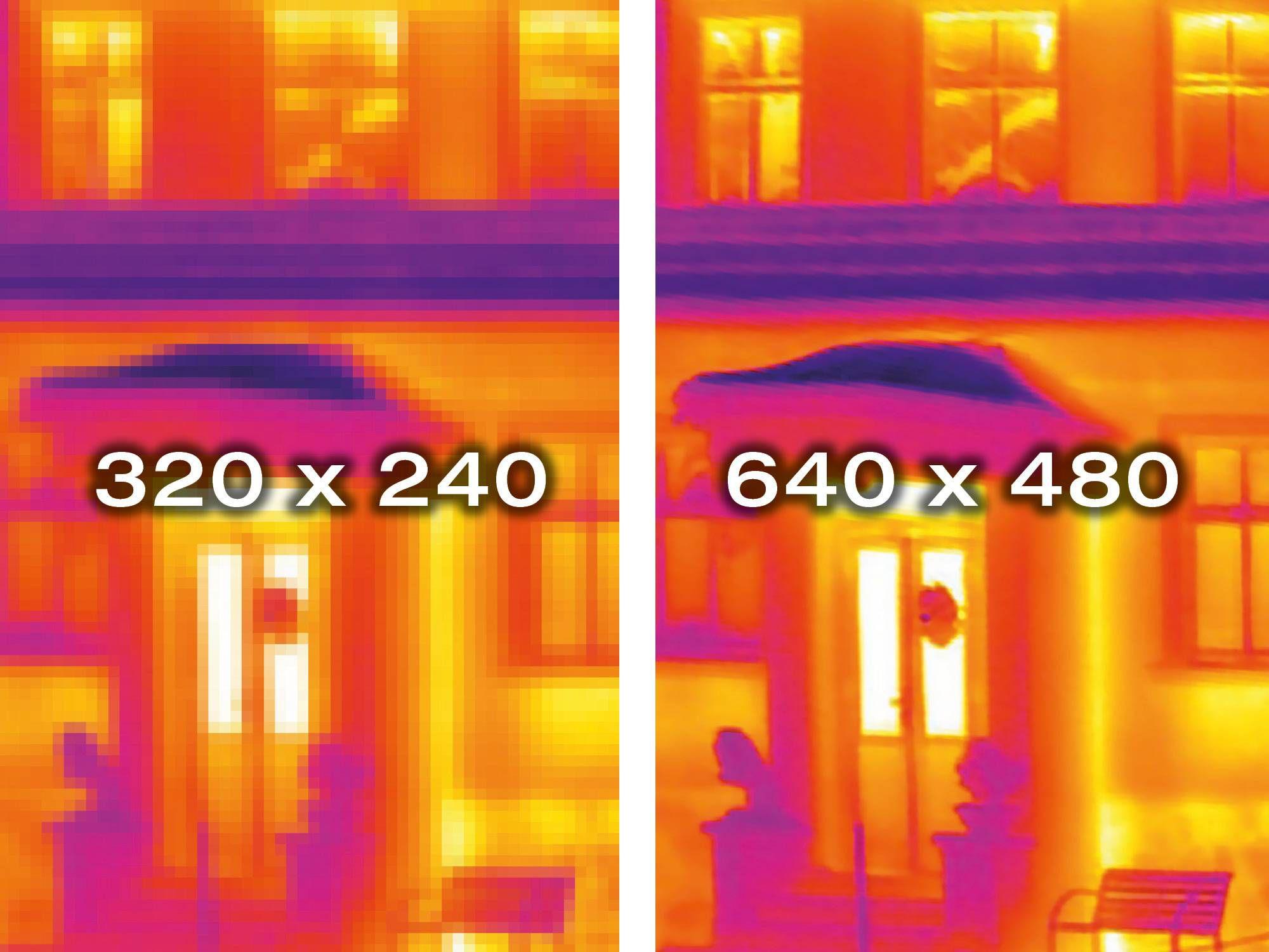 testo 883 红外热像仪红外分辨率为320x240像素,利用内置的testo SuperResolution红外超像素技术,甚至可以扩展至640x480像素。