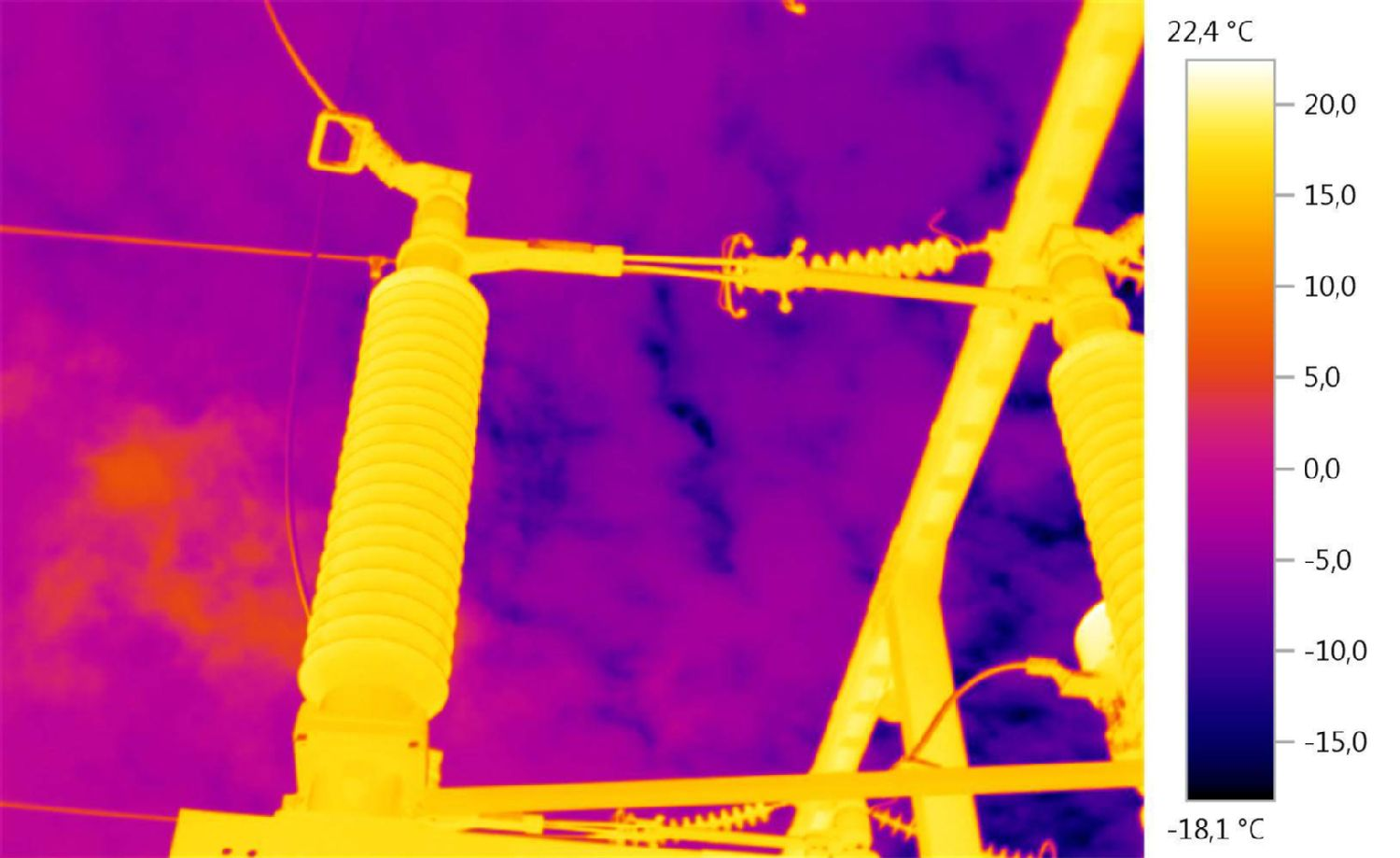 Thermal image of an overhead power line