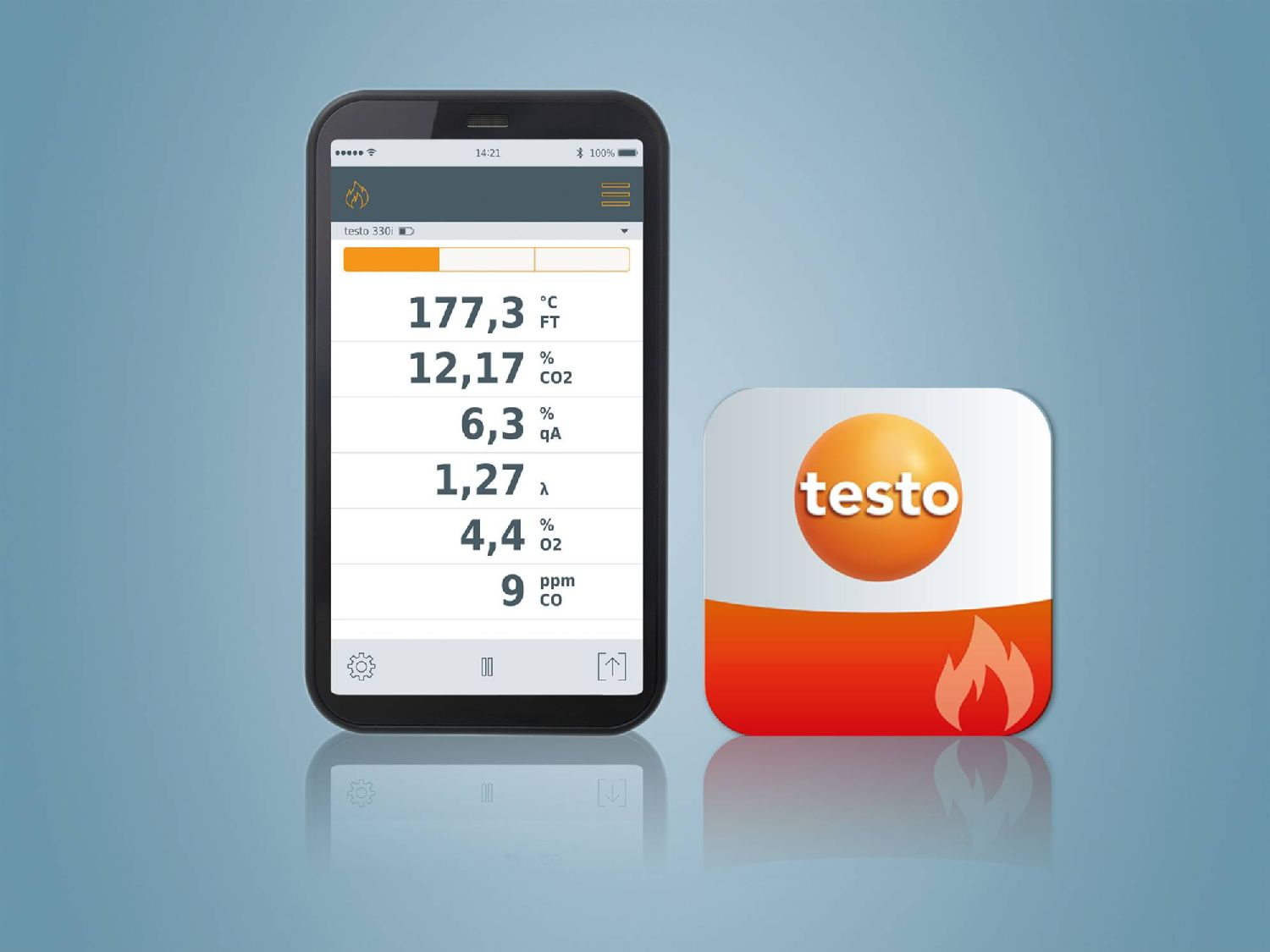 testo 330i App and testo flue gas App