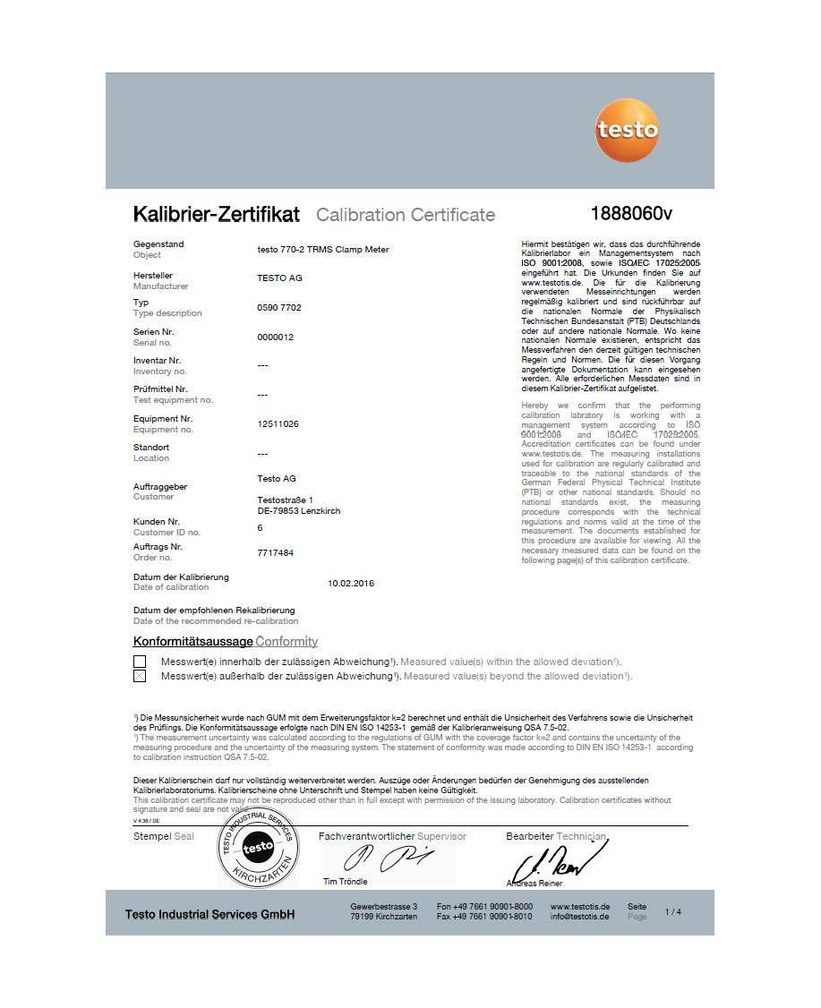 ISO-Kalibrierzertifikat für Stromzange