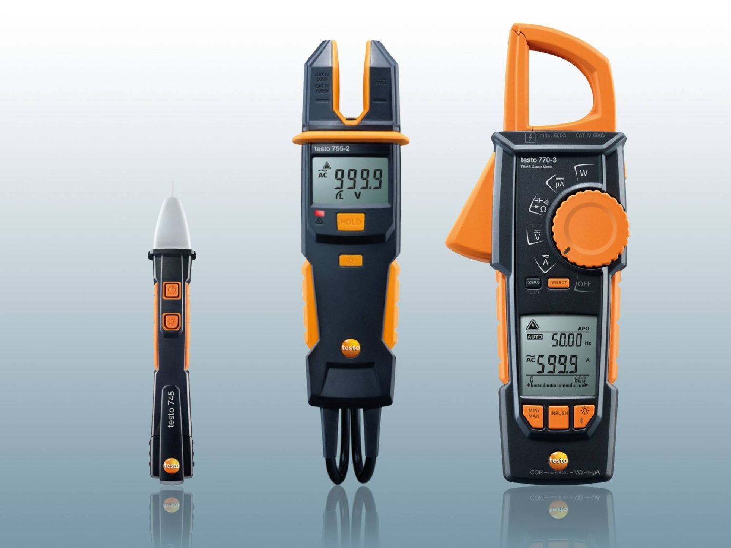 Voltage tester, phase tester and clamp meter