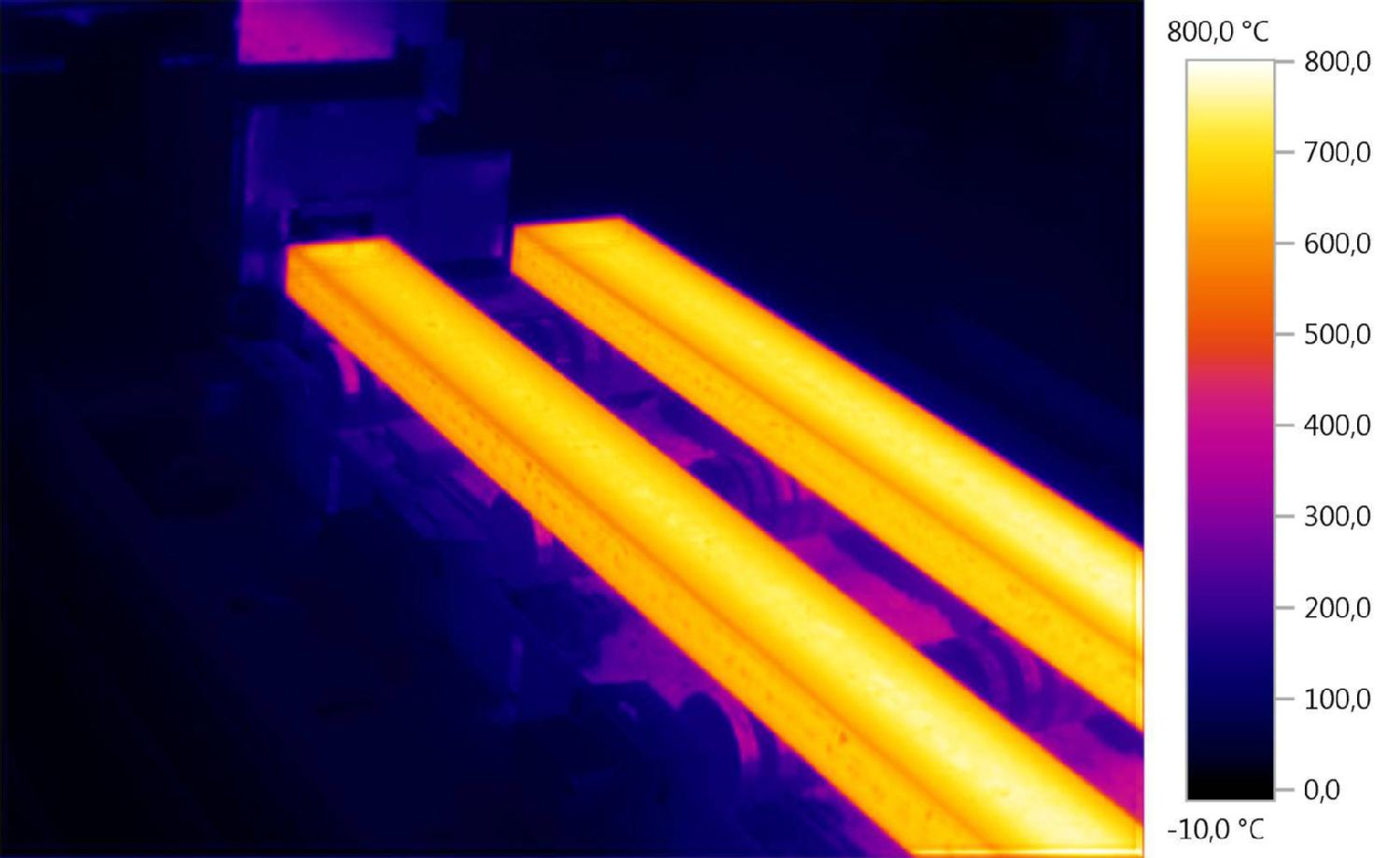 Thermal image steel slabs in a cooling store