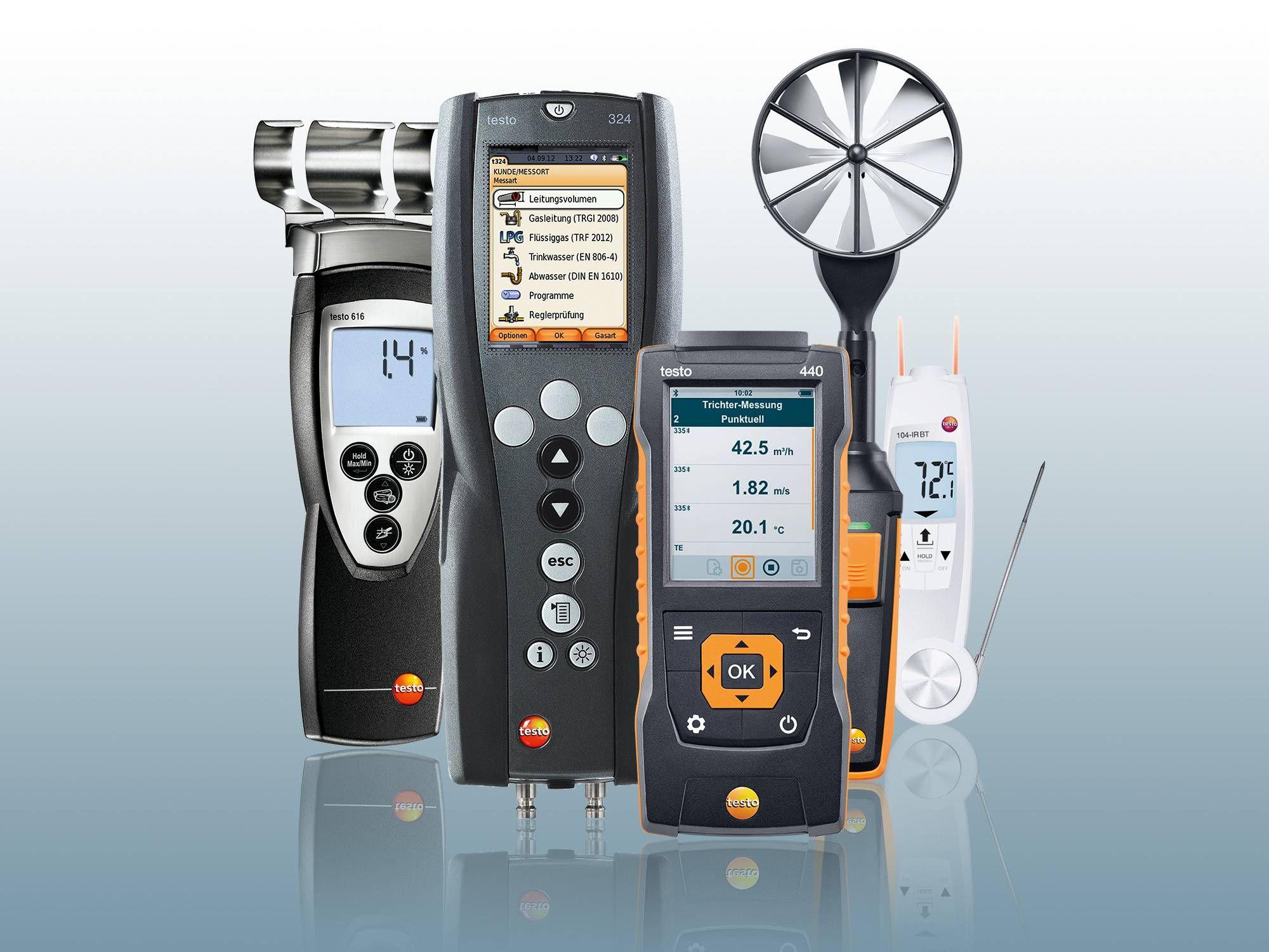 Collage aus testo 104-IR BT, testo 440 mit Bluetooth-Strömungssonde, testo 324, testo 616
