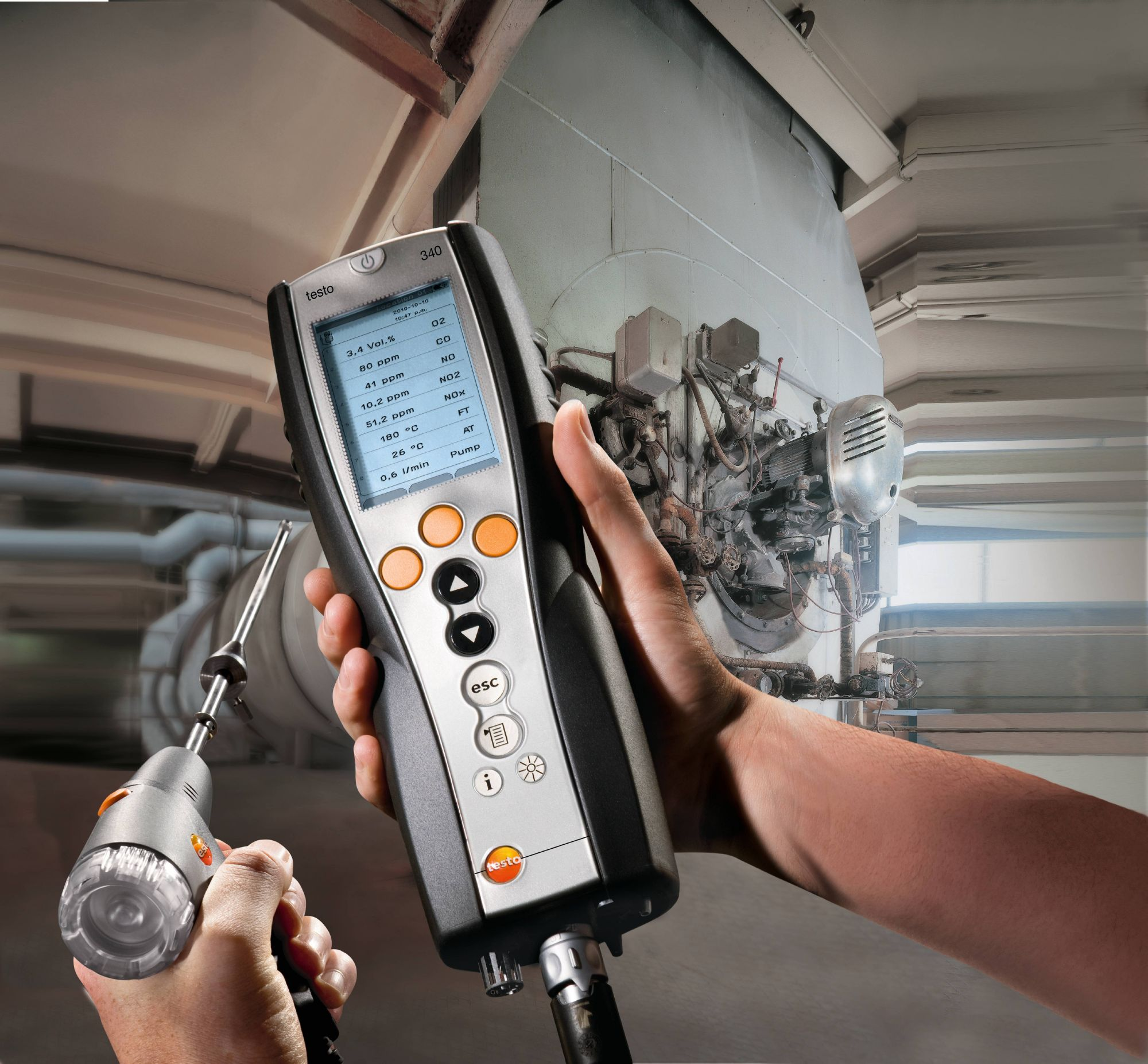 Testo 340 flue gas analyzer for efficiency testing