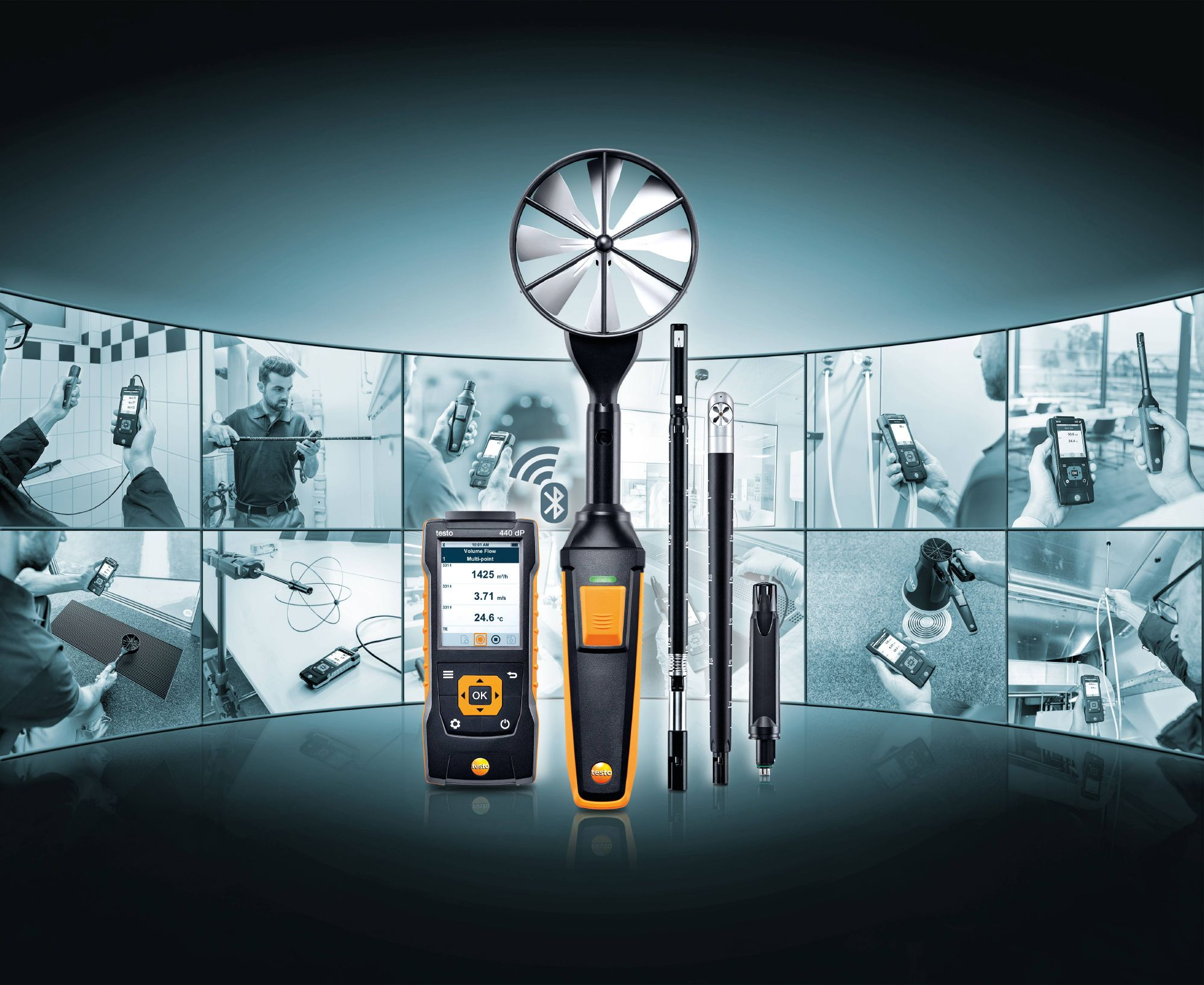 The new testo 440 air velocity & IAQ measuring instrument