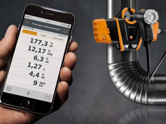 Operation and display of  readings via the testo 330i App on your smartphone