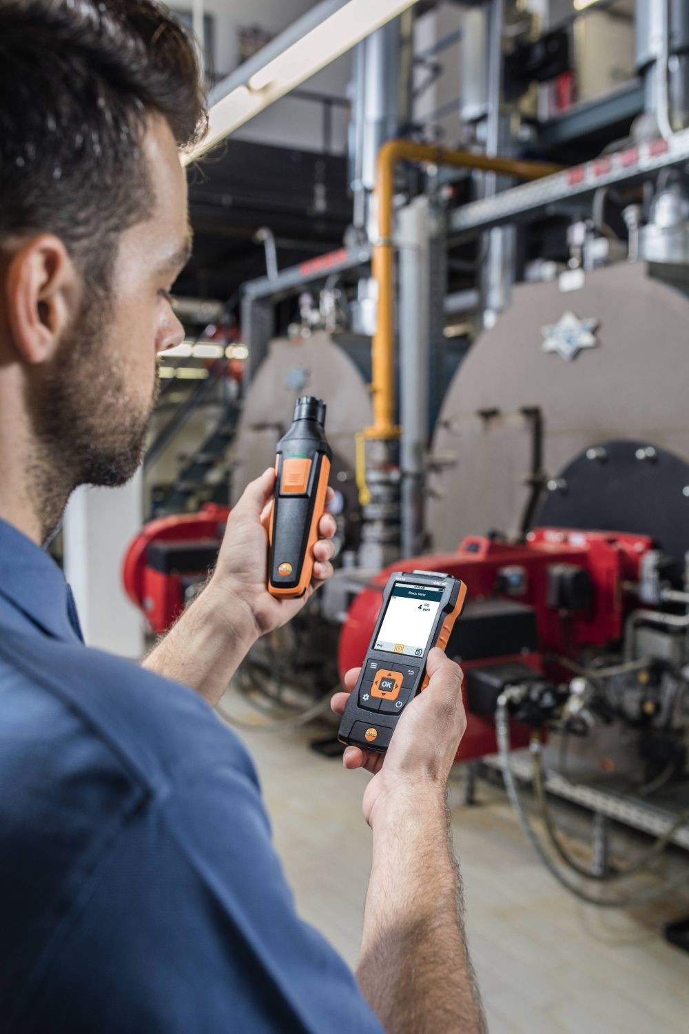 Detection of carbon monoxide boiler rooms with CO probe and testo 440