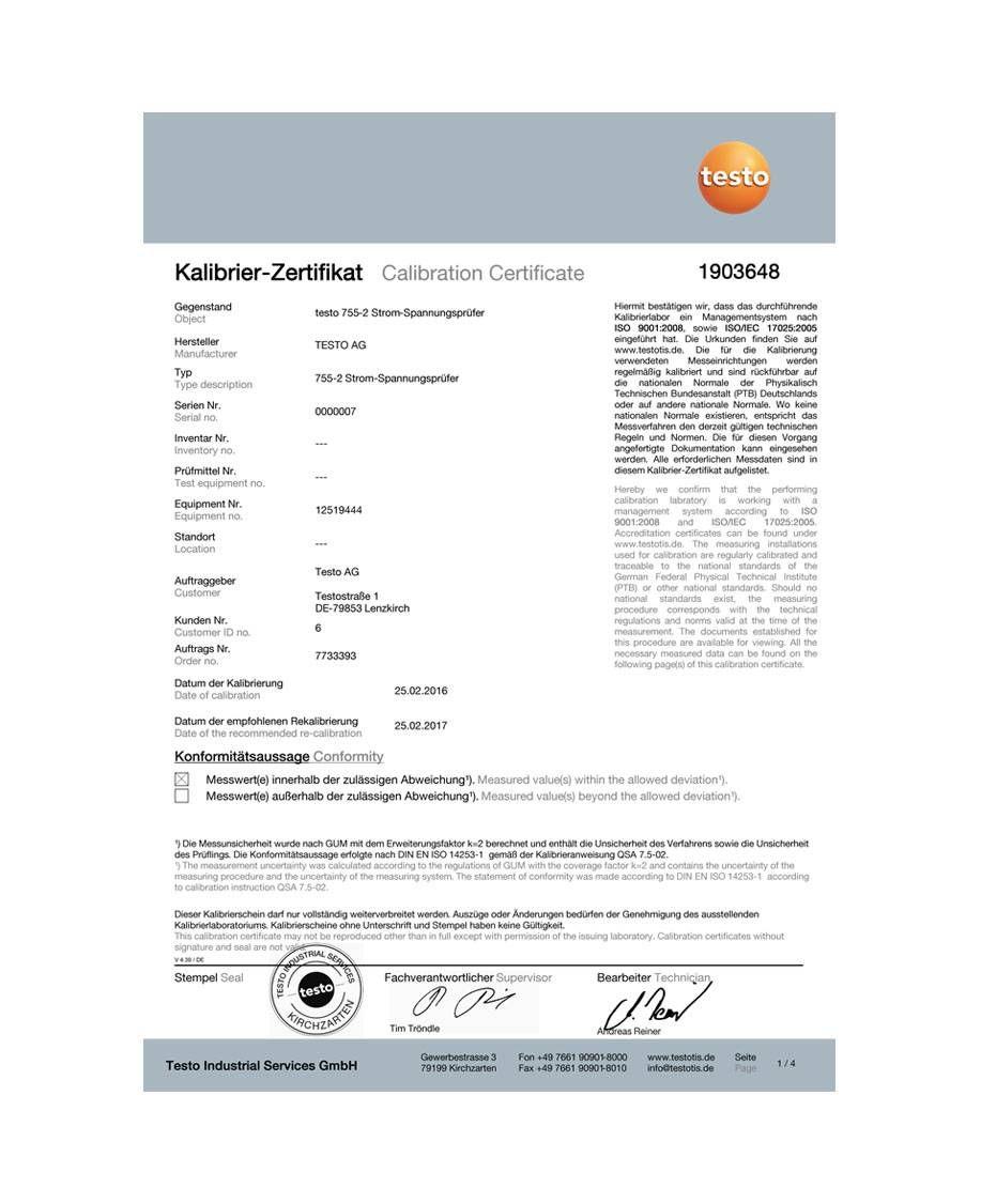 ISO-Kalibrierzertifikat für Strom-Spannungsprüfer