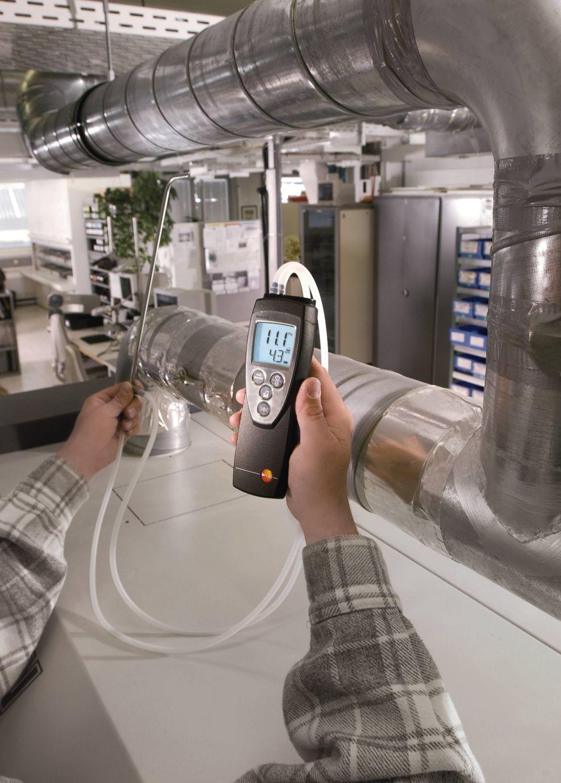 Medición en canales de ventilación con el manómetro testo 512