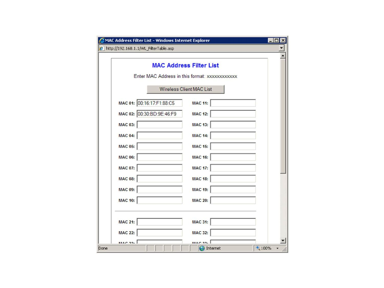 Liste mit zugelassenen MAC-Adressen