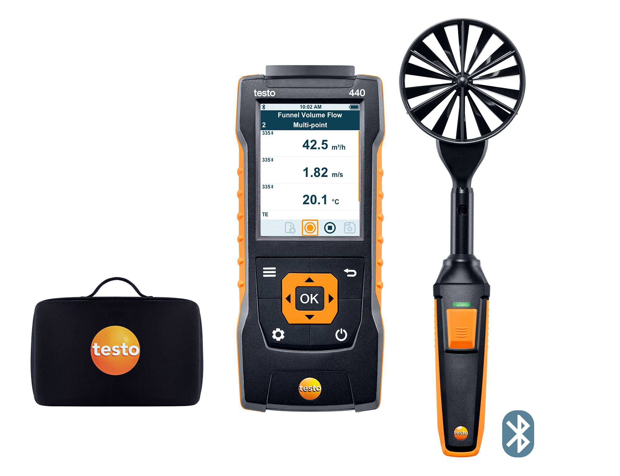 Set de molinete de 100 mm testo 440 con Bluetooth®