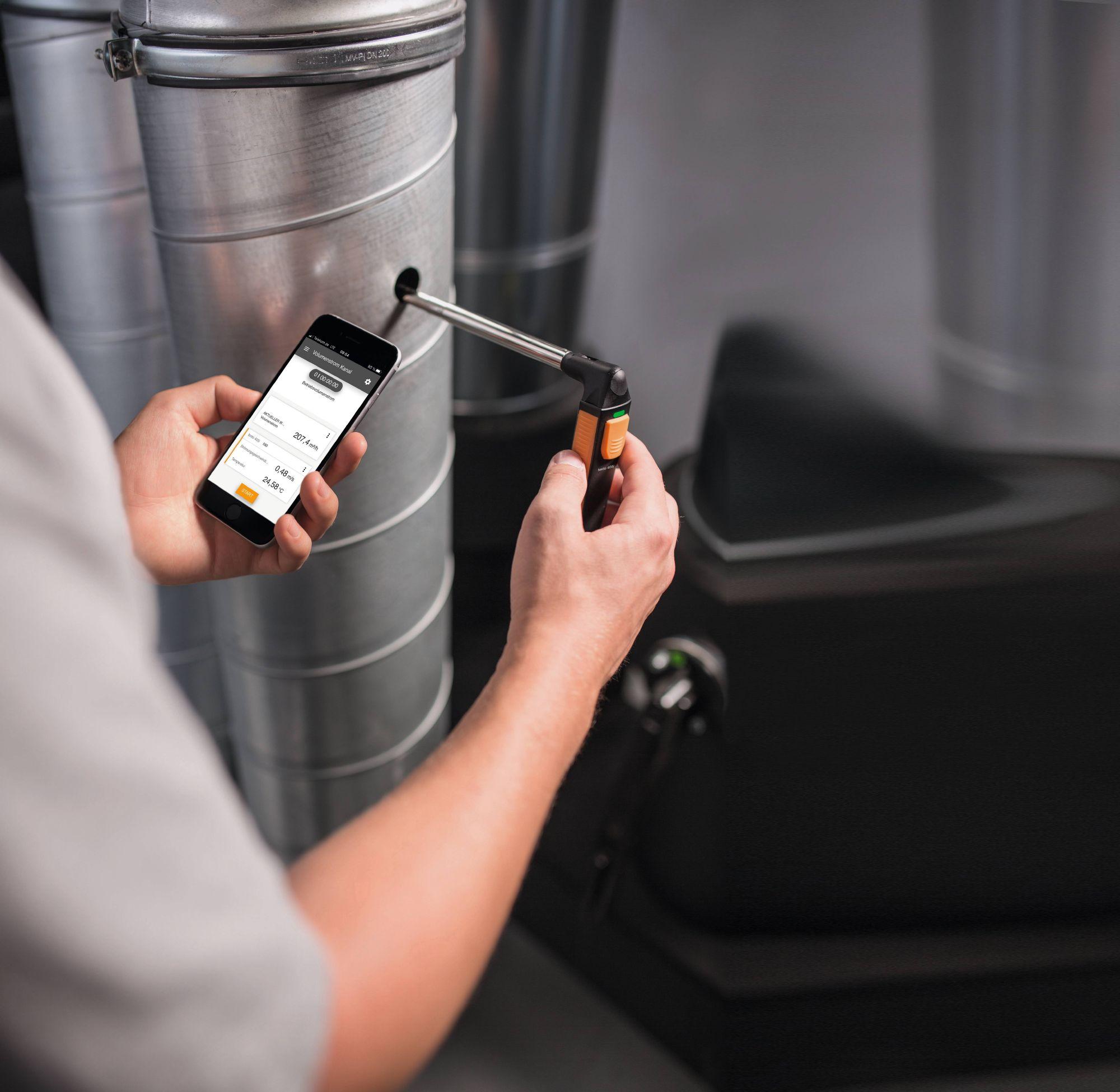 testo 405i – Anemómetro térmico con manejo a través de un teléfono inteligente