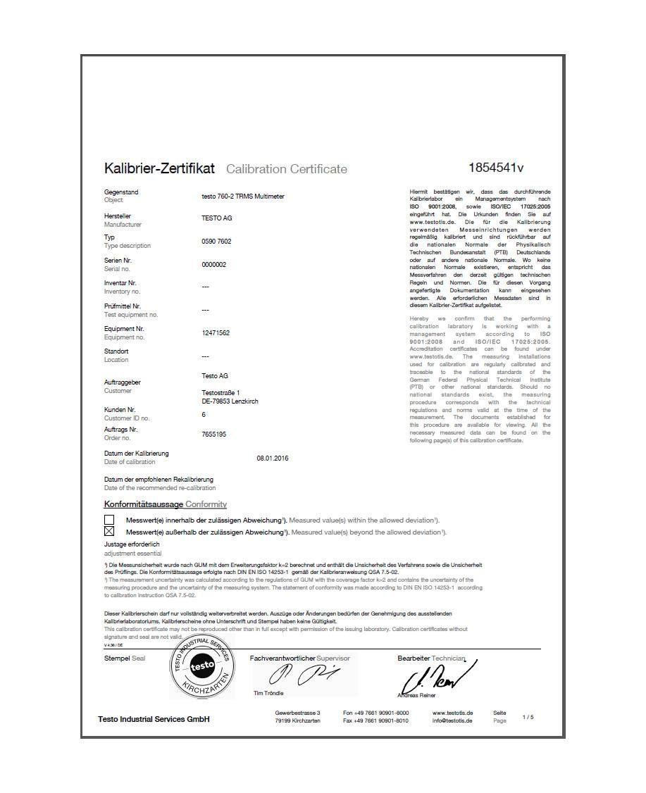 ISO-Kalibrierzertifikat für Multimeter